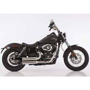 Scarico HARLEY DAVIDSON DYNA Low Rider 2006 - 2007 - 2008 - 2009   Sistema di scarico FALCON Double Groove sistema completo acciaio inossidabile lucidato colore argento