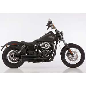 Scarico HARLEY DAVIDSON DYNA Low Rider 2006 - 2007 - 2008 - 2009   Sistema di scarico FALCON Double Groove sistema completo acciaio inossidabile rivestito colore nero-opaco