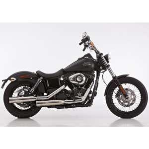 Scarico HARLEY DAVIDSON DYNA Low Rider 2006 - 2007 - 2008 - 2009   Sistema di scarico FALCON Double Groove Slip on acciaio inossidabile lucidato colore argento