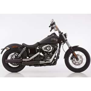 Scarico HARLEY DAVIDSON DYNA Low Rider 2006 - 2007 - 2008 - 2009   Sistema di scarico FALCON Double Groove Slip on acciaio inossidabile rivestito colore nero-opaco